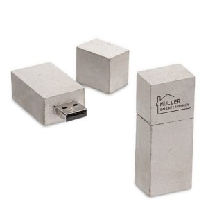USB Stick Major Square aus Beton grau
