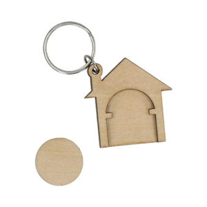 Holzchip Schlüsselanhänger Haus